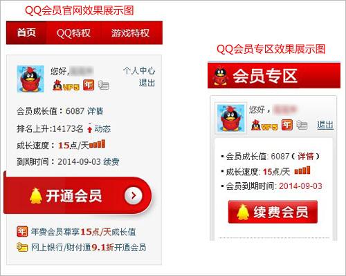 腾讯客服-QQ会员-年费图标会在哪里显示?