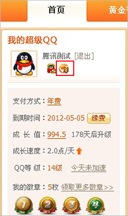 腾讯客服-超级QQ-开通年费超级QQ后,年费图标